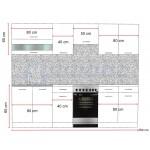 Color 4 konyhabútor 250 cm, Fekete