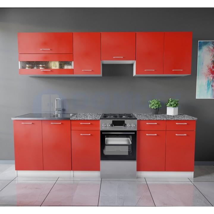 Color 4 konyhabútor 250 cm, Piros