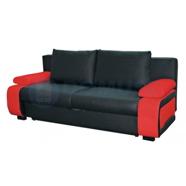 Ines textilbőr kanapé D, Fekete-Piros