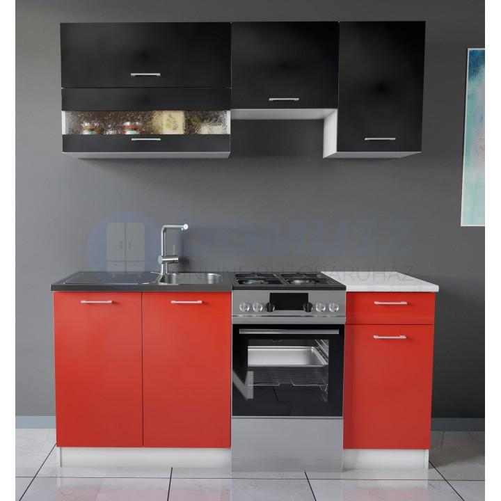 Max konyhabútor 170 cm Fekete - Piros